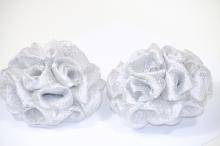 Банты из серебреной парчи